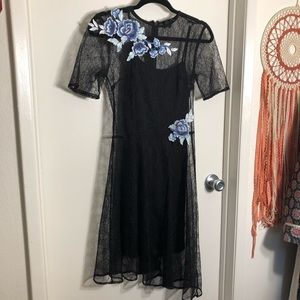 Lace Dress w/ Floral Embroidery